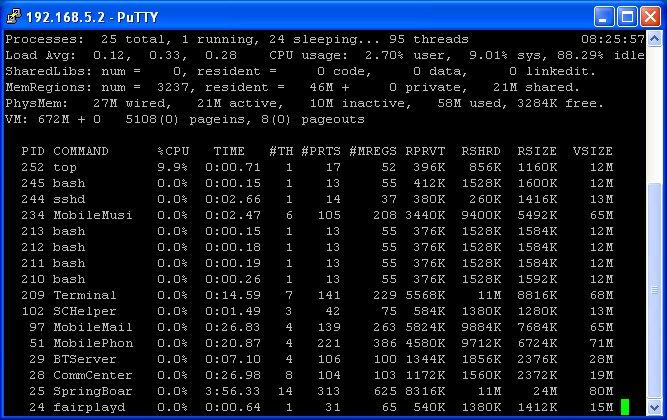 """... dadurch kann man unter Windows XP mit """"putty"""" per SSH auf das iPhone zugreifen ..."""