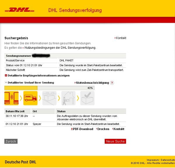 sendungsverfolgung bei deutsche post dhl. Black Bedroom Furniture Sets. Home Design Ideas